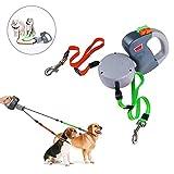 Dual Doggie Pet Leash Hundeleine, Automatische Hund Versenkbar Leine, Einziehbare 3m Mit Button Break und Schließsystem, Wandern, Joggen, kein Verheddern