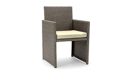 Rattan4Life Sitzgruppe Neapel, 4-teilig Deluxe Polyrattan Gartenmöbel Set, Sofa / Lounge / Gartengarnitur / Kissenbezüge, Rattan grau / braun, Bezug beige - 5