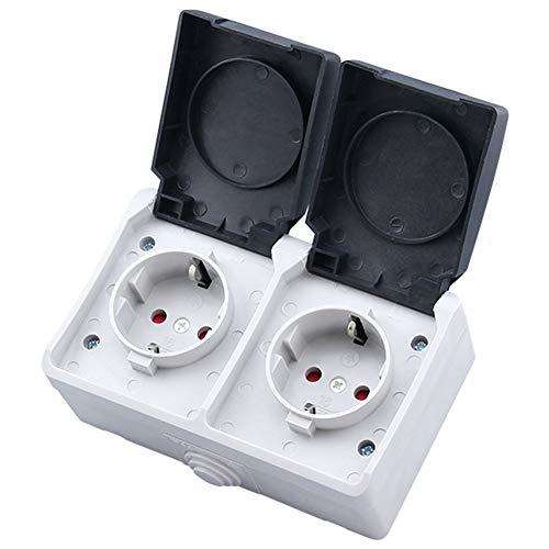 Denret3rgu Dual Slot IP44 Wasserdichte Schutzkontakt-Steckdose für die Aufputzmontage - Schwarz + Weiß -