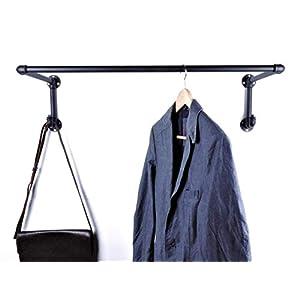 Garderobe Schwarz aus Metall 90cm mit 80cm Kleiderstange und 2 Kleiderhaken im Industrial Design