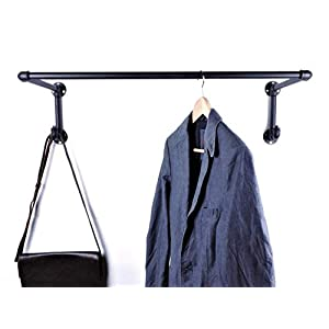 Garderobe 90cm sehr stabil handgefertigt in Deutschland – schwarz aus Metall – 80cm Kleiderstange und 2 Kleiderhaken im…