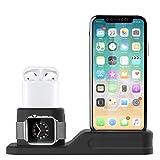 Foxnovo Stand 3 in 1 per Apple Watch, iPhone e Air Pods in Silicone atossico Compatibile con Apple Watch 3/2/1 AirPods e iPhone X/8/8 Plus/7 plus/6s
