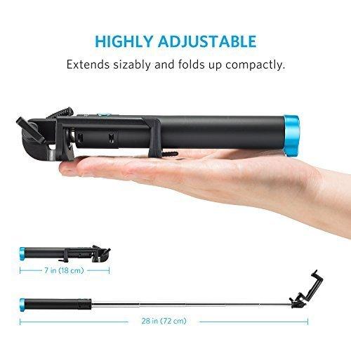Anker Selfie Stick, Verstellbare Selfie-Stange, ohne Akku, mit Kabel, für iPhone 6s/6/5, Galaxy, Nexus und viele mehr, in Schwarz - 6