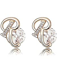 Gold Crystal Diamond Accent Letter R Earrings Made with Swarovski Crystal, with a Gift Box, White, Model: X13841