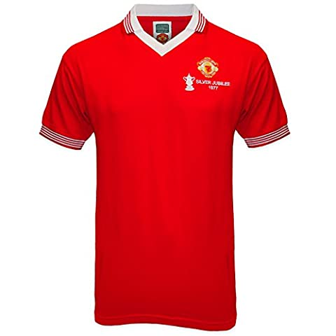 Manchester United FC Official Gift Mens 1977 FA Cup Retro Kit Shirt Red Small