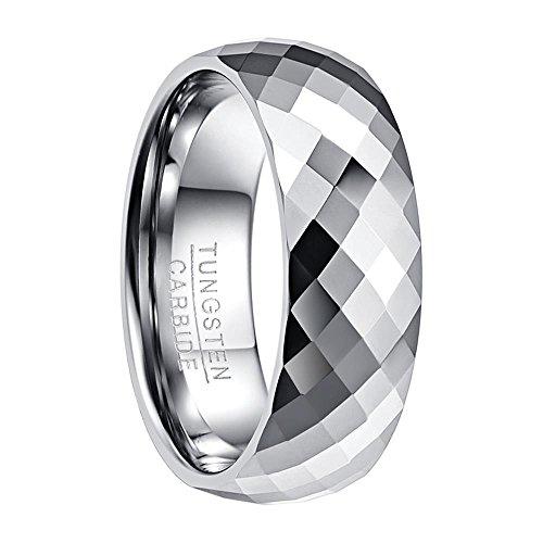 Nuncad Ring Damen silber facetiert und mit Kuppelform Dsign, Unisex Wolfram Ring Damen_Herren, perfekt für Events, Party und Fasching, Größe 59 (19)