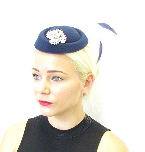 Bleu marine Argent Plume Chapeau bibi courses vintage Cheveux années 1940 30S 577 * exclusivement Vendu par Starcrossed Beauty *