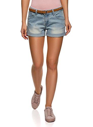Oodji ultra donna shorts in jeans con cintura, blu, w25 / it 38 / eu 25