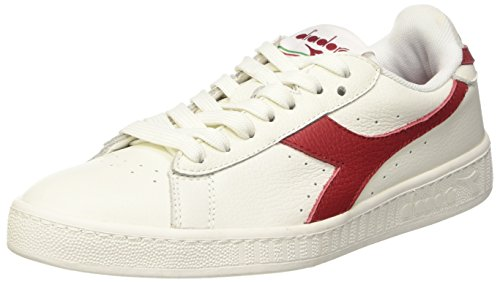 Diadora Game L Low Waxed, Pompes à Plateforme Plate Mixte Adulte Bianco (Bianco/Rosso Peperoncino/Bco)