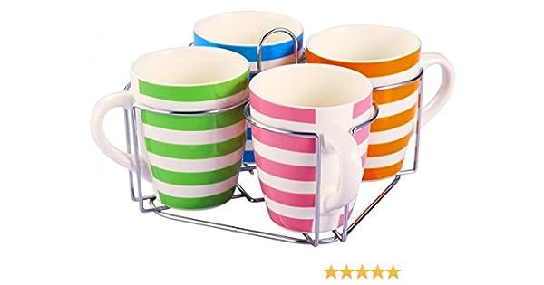 5-tlg Tassen-Set Ständer 580ml Keramik Tassen Teetassen Kaffeetassen Jumbotassen