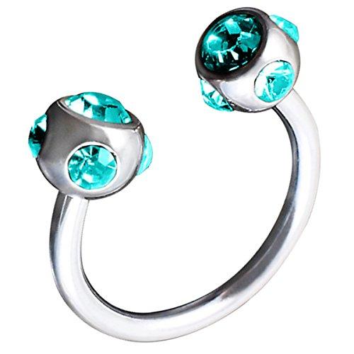 Piersando Piercing Hufeisen Septum Ring Kugel mit Kristallen für Tragus Helix Nase Lippe Ohr Intim Nippel Augenbraue Brust Horseshoe Silber Aqua