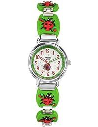 Trendy Kiddy - KL 276 - Montre Fille - Quartz Analogique - Cadran Multicolore - Bracelet Métal Vert