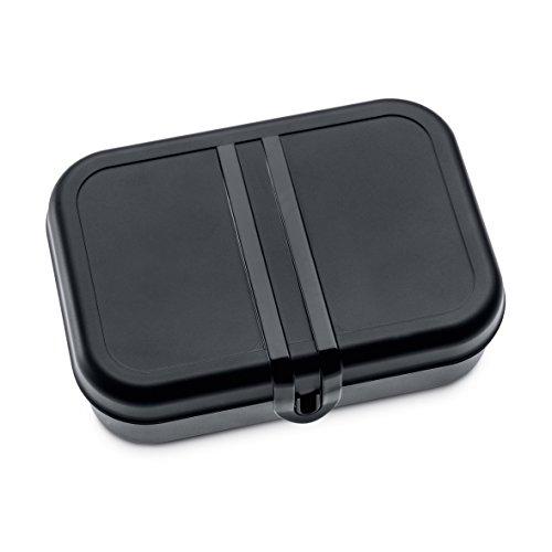 koziol Lunchbox mit Trennsteg Pascal L, Kunststoff, schwarz mit weiß, 23,2 x 16,6 x 6,2 cm