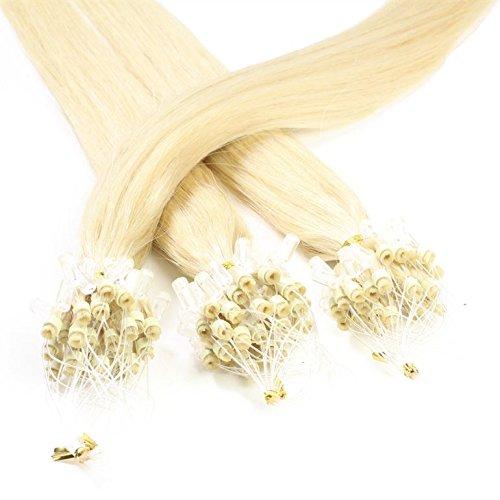 hair2heart 100 x Microring Loop Extensions aus Echthaar, 50cm, 0,5g Strähnen, glatt - Farbe 60 lichtblond