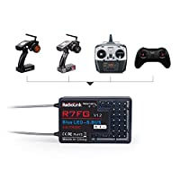 AKDSteel Radio-link R7FG 7CH 2.4G Gyro and Two-Way Transmission Telemetry Long Range FPV Car and Boat Receiver for RC6GS RC4GS T8S T8FB Update Version
