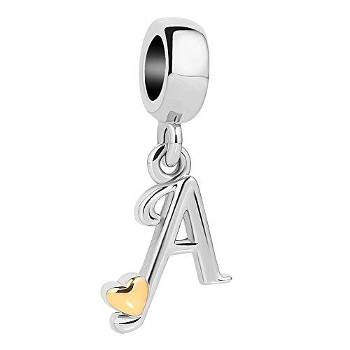 Uniqueen Ciondolo per braccialetti forma di lettera con cuoricino oro