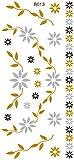 BODY-/KÖRPER-/FLASH-TATTOO, wasserlöslich ~~BLUMEN RANKEN GOLD/SILBER/SCHWARZ ~~ 1 Tatoo-Bogen: 21 x 10 cm (B013)