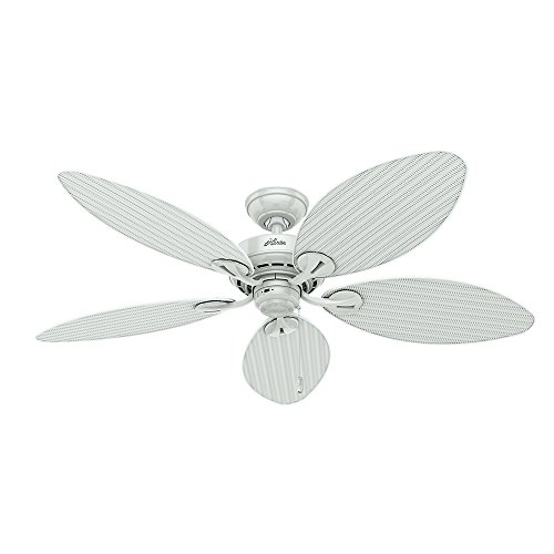 Hunter 54097 Bayview 54-Inch ETL Damp Listed Ceiling Fan with Five White Wicker/White Palm Leaf Plastic Blades, White
