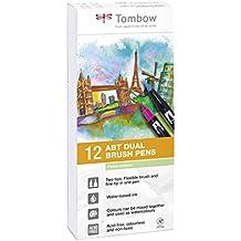 Tombow ABT-12P-2 Lot de 12 Feutres pinceau à 2 pointes, couleurs pastel