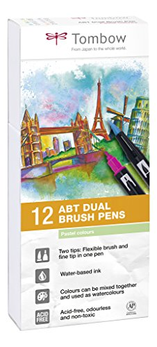 Tombow Dual Brush - Estuche 12 rotuladores doble punta pincel, color muticolor