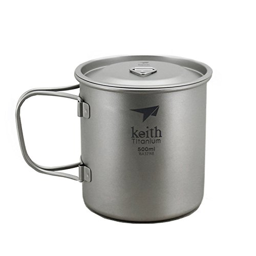 Keith 500ml Titanium Cup Outdoor Mug Camping Cup With Lid
