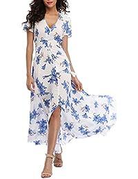5760e365199 Amazon.fr   robe longue boheme - Blanc   Robes   Femme   Vêtements
