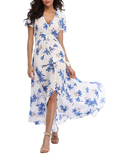 VOGMATE Women's Long Split Button up Summer Maxi Dress Floral Beachwear Holidy Dress High Waist with Short Sleeves