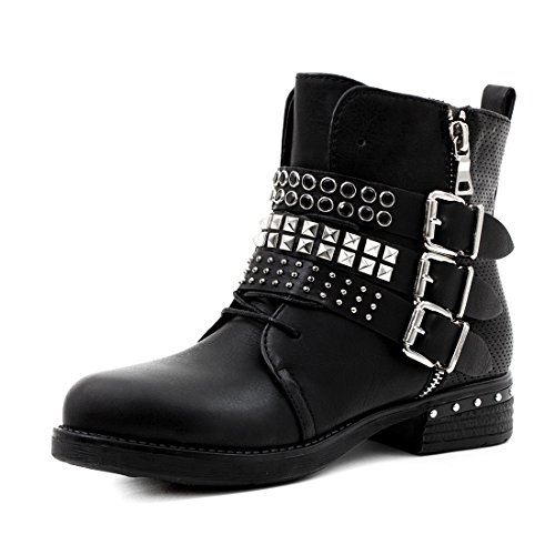Marimo Damen Nieten Stiefel Biker Boots mit Schnallen Stiefeletten in Lederoptik Schwarz 37