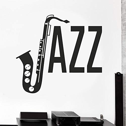 zqyjhkou Jazz Zeichen Musik Wanddekoration Musik Melodie Musiknoten Aufkleber Gitarre Gitarrist Vinyl Wandaufkleber Da18 62x57 cm