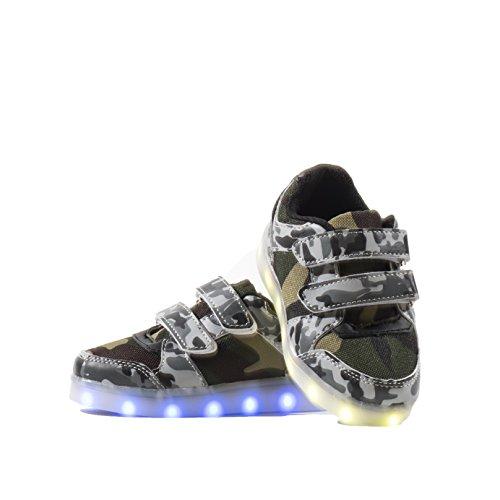 Envio 24 Horas Nuevo Modelo Usay like Zapatillas LED con 7 Colores Luces Carga USB Blanco Negro Militar Unisex Niños Talla 25 hasta 34 Envio Desde España (EU33, Militar Negro)