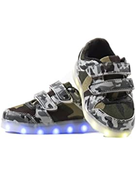 Usay like Envio 24 Horas Nuevo Modelo Zapatillas LED con 7 Colores Luces Carga USB Blanco Negro Militar Unisex...