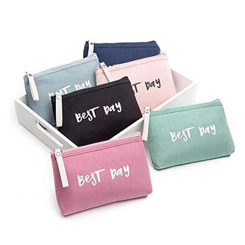 Frauen beste Tag Buchstaben Reißverschluss Kosmetiktasche Coin Geldbörse Handtasche 12cm(H)×3cm(W)×18cm(L) a Video Pda