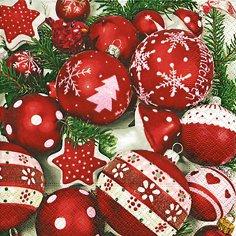 (Servietten 20 St. 33x33cm. Weihnacht, Christbaumkugeln rot weiß / SNOW WHITE IN RED)