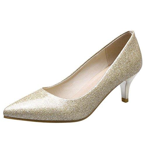 Mee Shoes Damen high heels ohne Verschluss spitz Pumps Gold