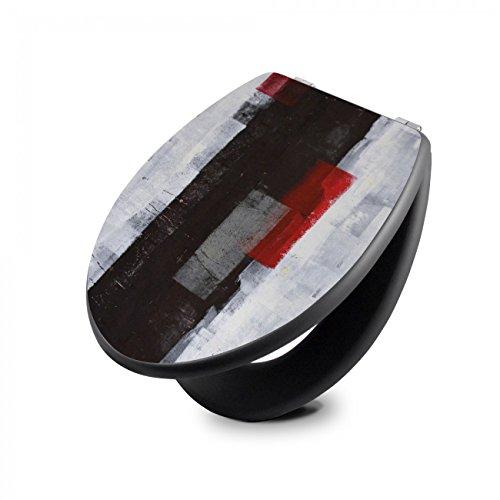 banjado Design Toilettensitz in Anthrazit | WC-Sitz Holz MDF 42,3×3,5×37,5cm | Klodeckel mit Edelstahl Scharnieren | Toilettendeckel mit Motiv Abstrakt