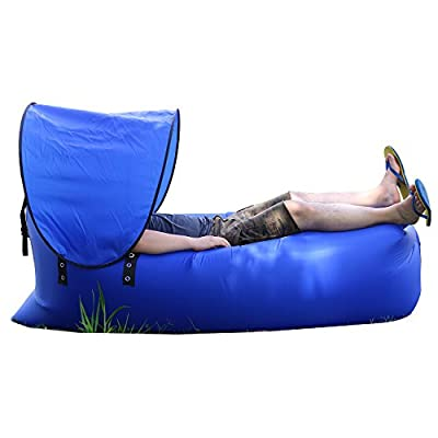 Lonior Inflatable Lounger Couch Air Sofa with Sun Canopy & Portable Pocket, Compression Air Beds Sleeping Sofa For Camping, Beach, Fishing, Hiking, Swimming Pools Waterproof Nylon 100% Money Return Back Guarantee - cheap UK light shop.