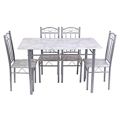 Dining Table , Vanpower Kitchen Dining set of 5pcs 1 table 4 chairs - inexpensive UK light store.