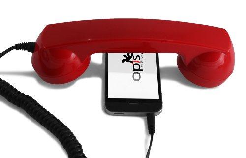 Opis 60s micro - Retro Handyhörer für Smartphones und Handys in der Form eines klassischen Telefonhörers (rot) (Telefonhörer Handy)