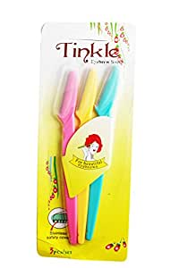 Ear Lobe & Accessories Stainless Steel Tinkle Eye Brow Razor for Women, 14.5cm (Multicolour) - Pack of 3