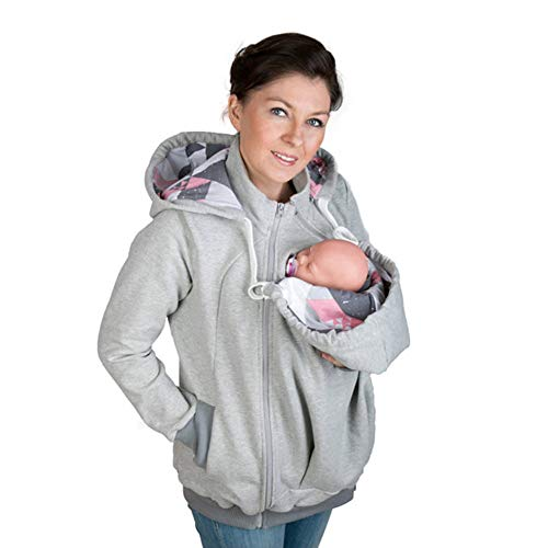 Polar-fleece-einsätze (Womens Mutterschaft Hoodie Polar Fleece-Sweatshirt, Baby Carrier Mäntel 3 In1 Soft Kangaroo Zipper Up Jacke Für Mama Und Baby,Gray,S)