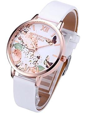 JSDDE Uhren,Vintage Schmetterling Blumen Damen Armbanduhr Basel-Stil Quarzuhr Lederarmband Rosegold Quarz Uhr(...