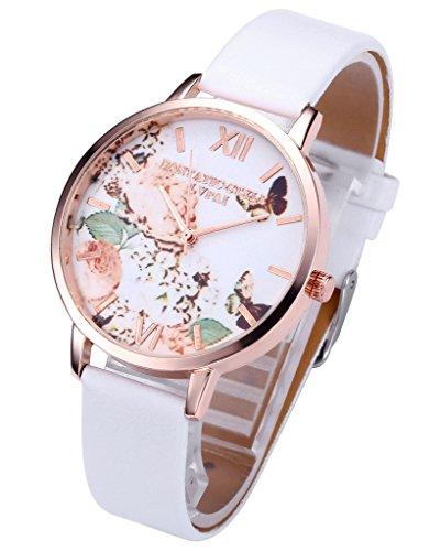 JSDDE Uhren,Vintage Schmetterling Blumen Damen Armbanduhr Basel-Stil Quarzuhr Lederarmband Rosegold Quarz Uhr,Weiss - 2