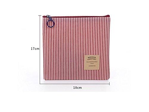 Décor de cheveux Mode Maquillage Sac Dames Voyage Articles de Toilette Portable Zipper Sac de Rangement (Rouge) Cadeau de mariée