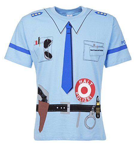 Kinder Uniform T-shirt Polizei blau (Air Kostüme Pilot)