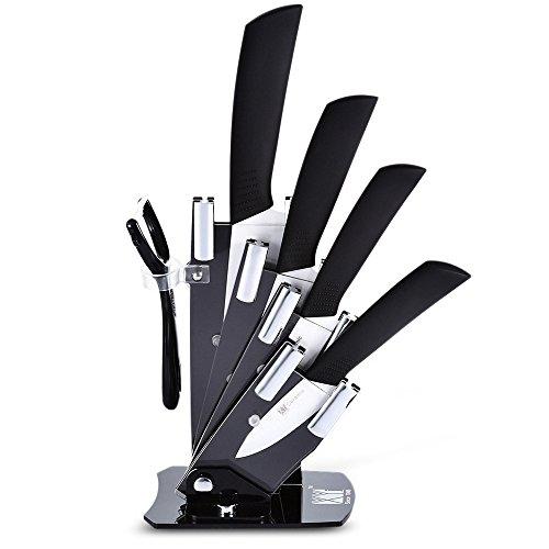Keramik Messer Set, 6 Stück Küche Messer Set Mit Hülle Cover, Messerblock Und Schäler Set (Keramik Küchen Set)