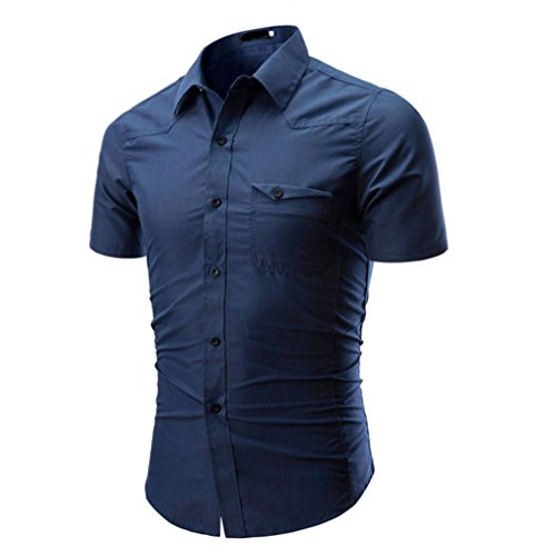 GreatestPAK T-Shirt Hemd Herren Normallack-männliches zufälliges kurzes Hülsen-Hemd,Blau,M