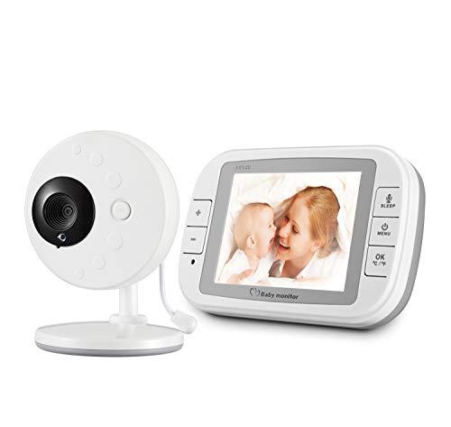 MBEN Babyphone mit Digitalkamera, 3,5-Zoll-LCD-Bildschirm, eingebautem Schlaflied, Nachtsichttemperaturüberwachung und Zweiwege-Gegensprechanlage Ge-wireless-kamera