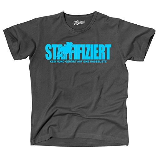Siviwonder Unisex T-Shirt STAFFIFIZIERT Staffordshire Rasseliste Hunde lustig fun Dark Grey