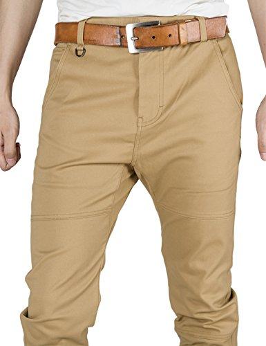 ITALY MORN Herren Chino Designer Hose Casual Stoff Hose Chinohose Jogginghose Slim Fit Khaki