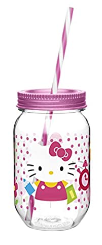 Zak! Designs Tritan Mason Jar Tumbler with Screw-on Lid and Straw featuring Hello Kitty Graphics, Break-resistant and BPA-free Plastic, 19 oz. by Zak Designs